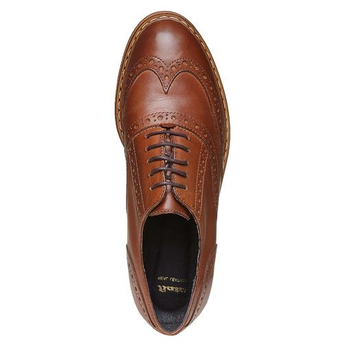 Scarpe basse di pelle con flatform bata, marrone, 524-3255 - 19