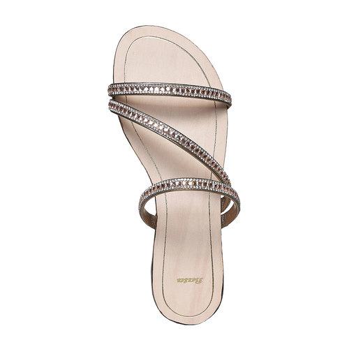 Sandali da donna con strass bata, giallo, 571-8169 - 19