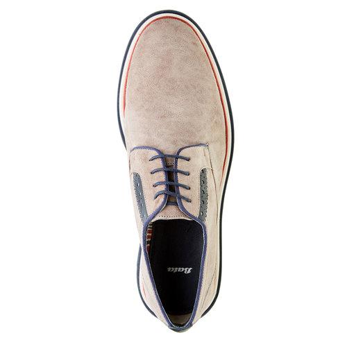 Scarpe basse da uomo in pelle in stile Derby bata, beige, 823-2814 - 19