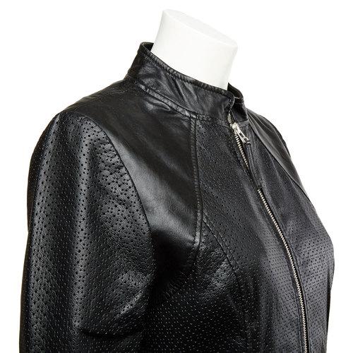Giacca da donna in pelle con perforazioni bata, nero, 974-6153 - 16
