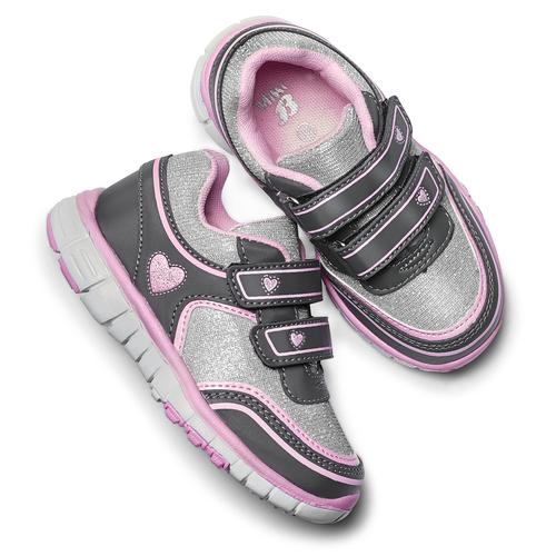 Sneakers da ragazza con chiusure a velcro mini-b, grigio, 229-2175 - 19