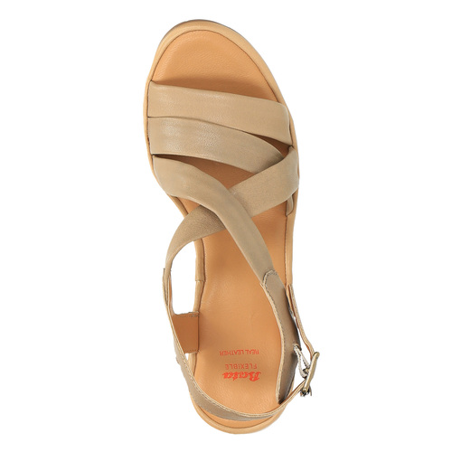 Sandali da donna in pelle flexible, marrone, 764-8538 - 19
