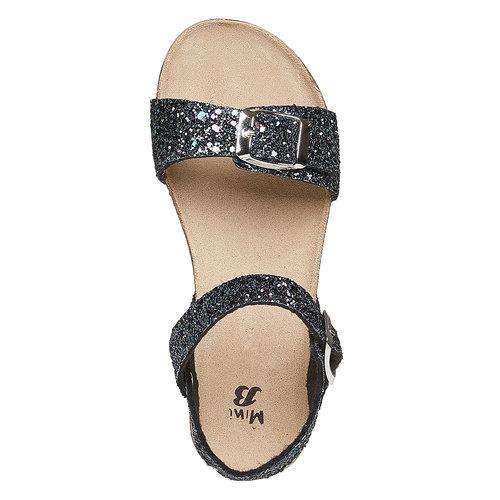 Sandali con glitter e suola di sughero mini-b, nero, 369-6189 - 19