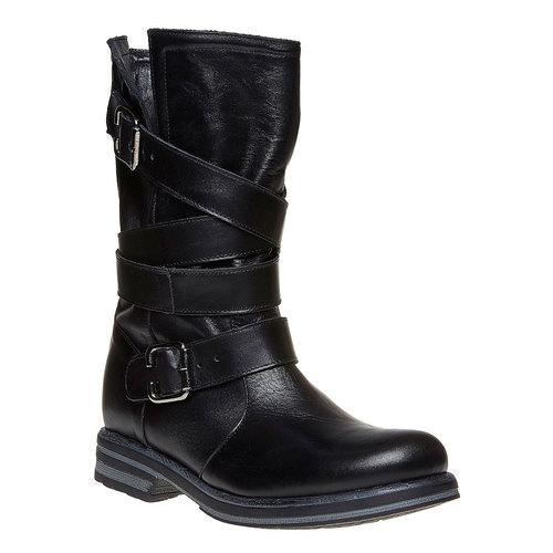 Stivali da donna con fibbie bata, nero, 594-6103 - 13