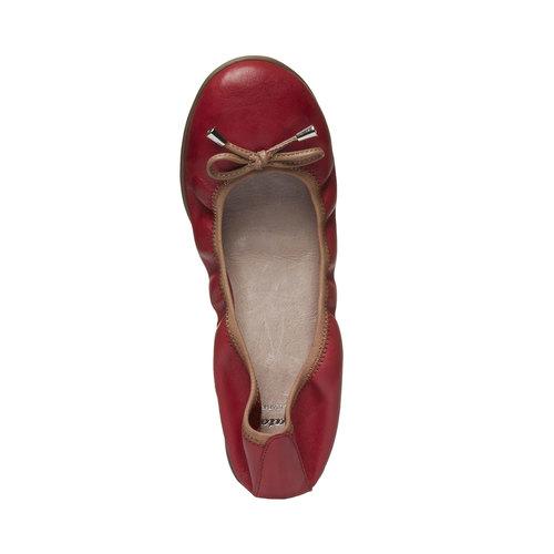 Ballerine rosse di pelle bata, rosso, 524-5485 - 19