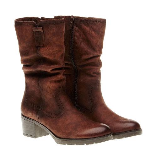 Stivali di pelle con tacco stabile bata, marrone, 696-4127 - 26
