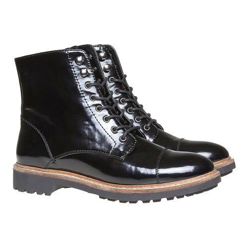 Scarpe verniciate sopra la caviglia bata, nero, 591-6509 - 26