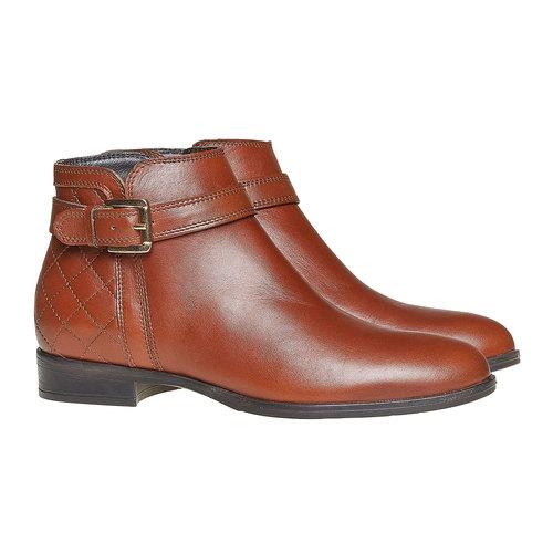 Scarpe di pelle alla caviglia con cuciture bata, marrone, 594-3167 - 26