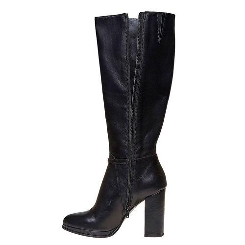 Stivali in pelle con tacco alto bata, nero, 794-6534 - 19