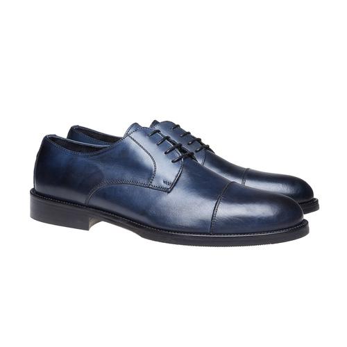 Scarpe basse di pelle blu con suola in pelle bata-the-shoemaker, blu, 824-9185 - 26