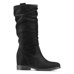 Stivali di pelle con tacco con zeppa bata, nero, 693-6391 - 13