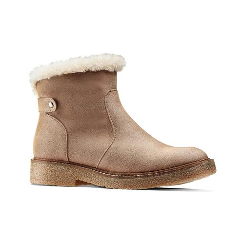 Scarpe alla caviglia con bordo in pelliccia bata, grigio, 599-2997 - 13
