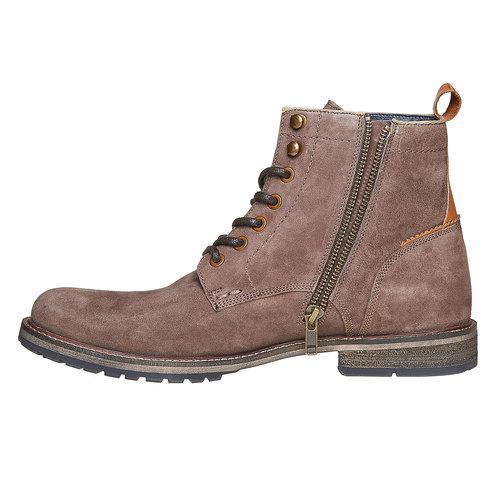Scarpe in pelle da uomo alla caviglia bata, marrone, 893-4357 - 19