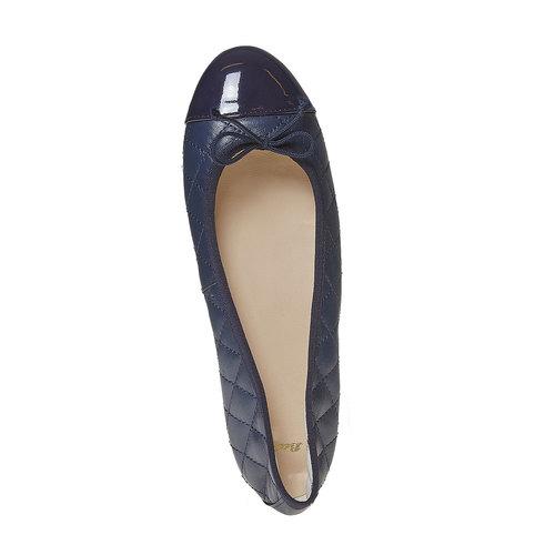 Ballerine in pelle con cuciture bata, blu, 524-9431 - 19