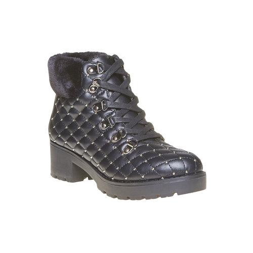 Scarpe da donna alla caviglia con cuciture bata, nero, 691-6400 - 13