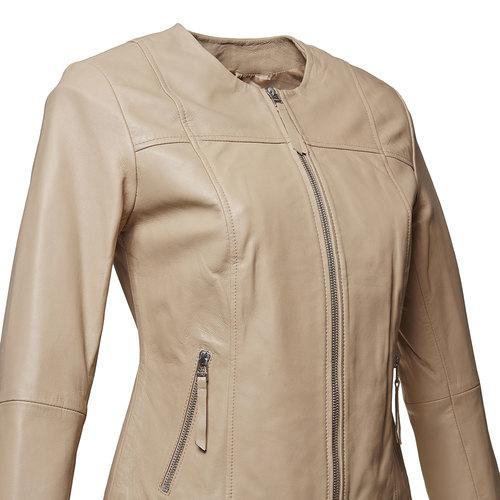 Giacca elegante di pelle bata, beige, 974-2312 - 16