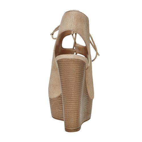 Sandali stringati con zeppa insolia, beige, 769-8559 - 17