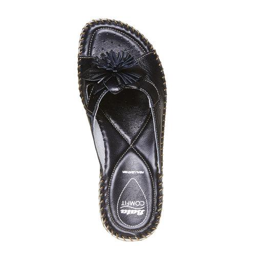 Pantofole in pelle con frange, nero, 674-6121 - 19