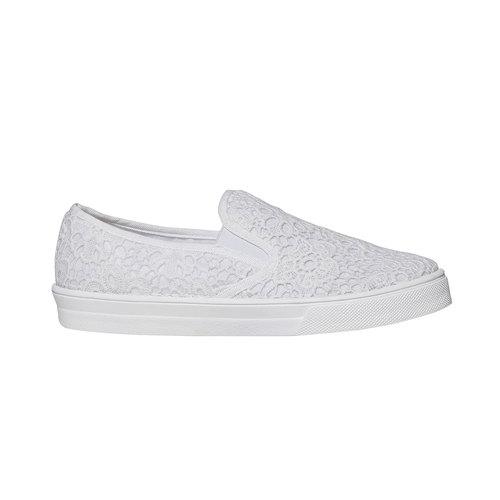 Sneakers Plimsoll da donna con pizzo bata, bianco, 549-1132 - 15