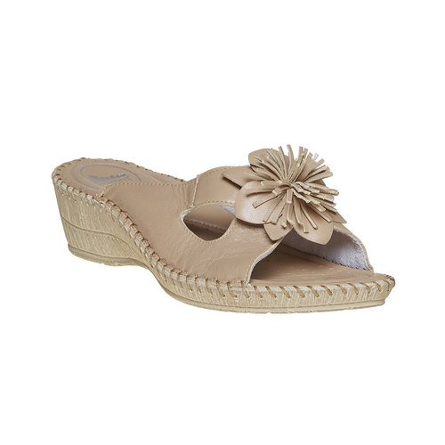 Pantofole da donna con tacco a zeppa, marrone, 674-3121 - 13