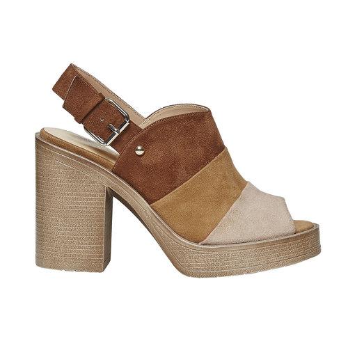 Sandali da donna con tacco stabile, marrone, 769-3252 - 15