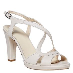 Sandali di pelle con tacco bata, beige, 764-8587 - 13