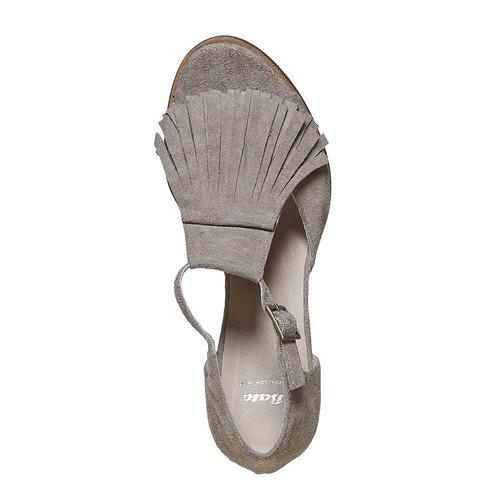 Sandali da donna con frange bata, grigio, 763-8519 - 19