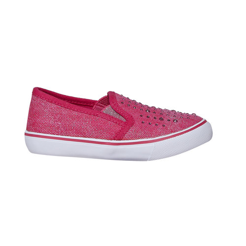 Slip-on da ragazza con strass north-star, rosso, 229-5193 - 15