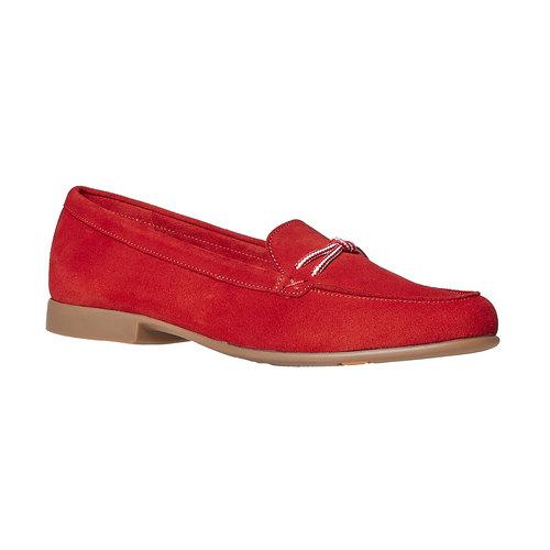 Mocassini in pelle da donna con lacci flexible, rosso, 516-5276 - 13