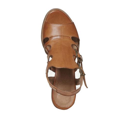 Sandali in pelle con fibbie bata, marrone, 764-4558 - 19