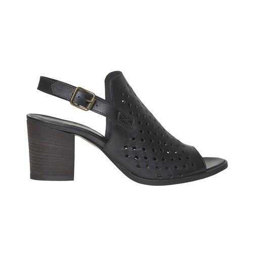Sandali di pelle con tacco stabile bata, nero, 764-6589 - 15