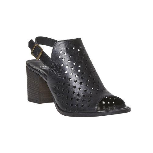 Sandali di pelle con tacco stabile bata, nero, 764-6589 - 13