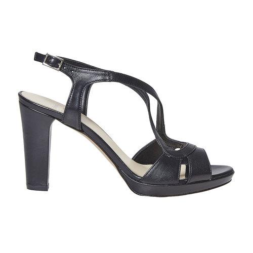 Sandali da donna in pelle bata, nero, 764-6587 - 15
