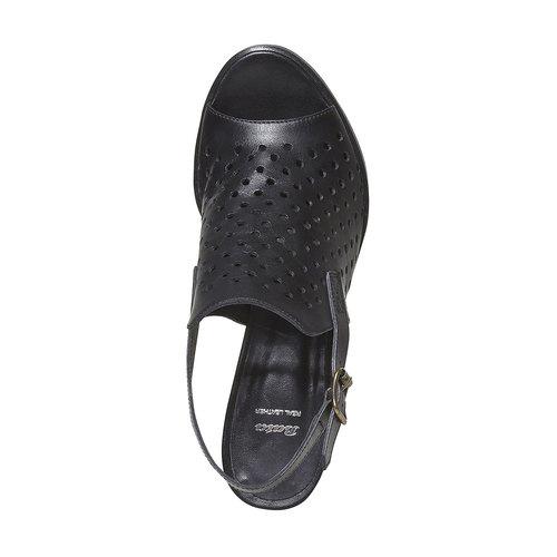 Sandali di pelle con tacco stabile bata, nero, 764-6589 - 19