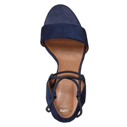 Sandali in pelle con nappe bata, blu, 763-9581 - 19