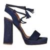 Sandali in pelle con nappe bata, blu, 763-9581 - 15
