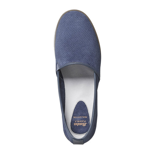 Slip-on in pelle da donna con trafori flexible, blu, 513-9200 - 19