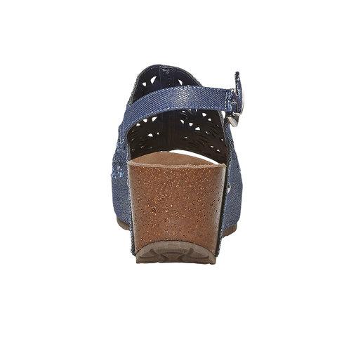 Sandali con plateau naturale bata, blu, 669-9248 - 17