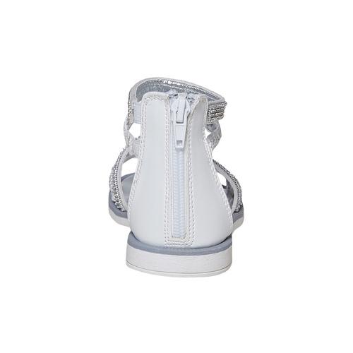 Sandali bianchi da ragazza con strass mini-b, bianco, 361-1217 - 17