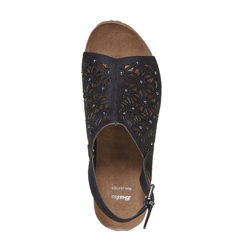 Sandali neri con perforazioni bata, nero, 669-6248 - 19