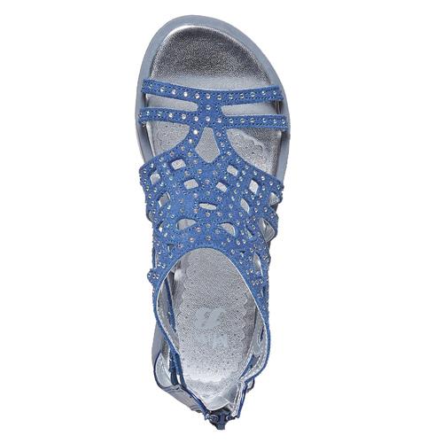 Sandali blu da ragazza con strass mini-b, blu, 363-9216 - 19