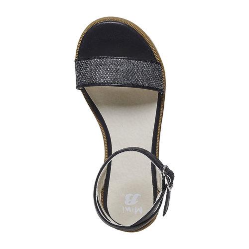 Sandali da ragazza con suola appariscente mini-b, nero, 361-6194 - 19