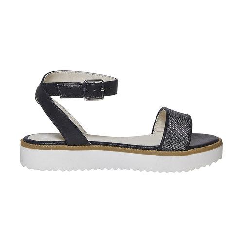 Sandali da ragazza con suola appariscente mini-b, nero, 361-6194 - 15