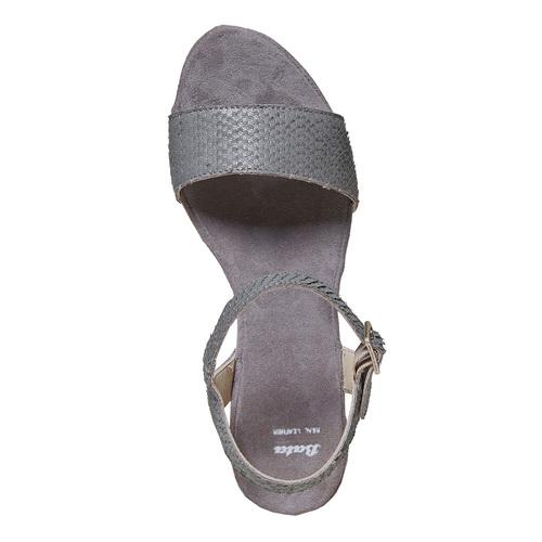 Sandali in pelle da donna con plateau bata, grigio, 764-2597 - 19