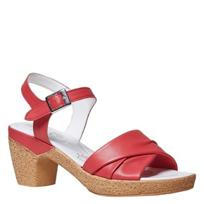 Sandali in pelle da donna con tacco bata-touch-me, rosso, 664-5231 - 13