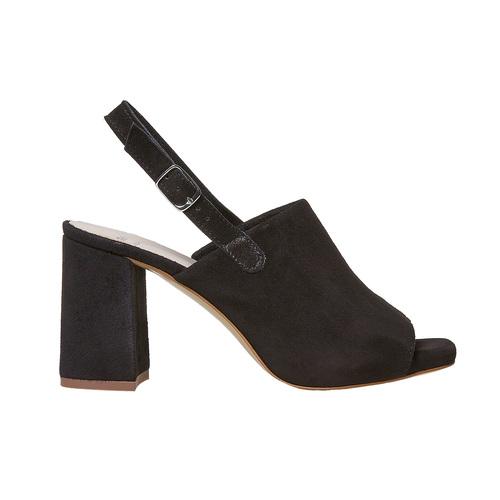 Sandali di pelle con tacco stabile bata, nero, 763-6577 - 15