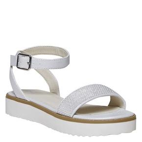 Sandali da ragazza con suola appariscente mini-b, bianco, 361-1194 - 13