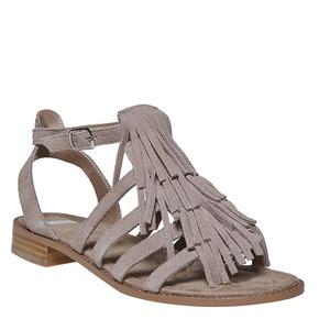 Sandali in pelle con frange bata, grigio, 563-2442 - 13