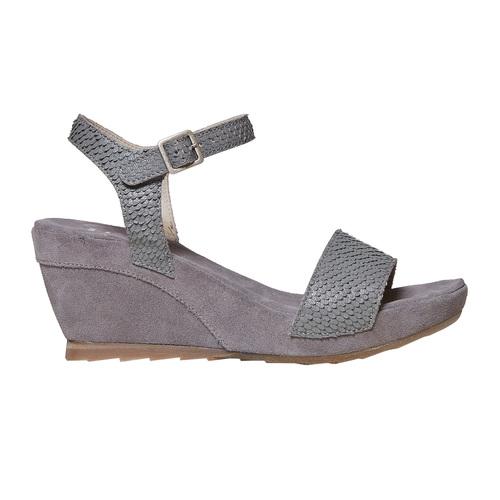 Sandali in pelle da donna con plateau bata, grigio, 764-2597 - 15