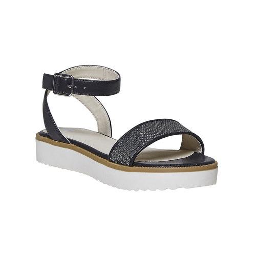 Sandali da ragazza con suola appariscente mini-b, nero, 361-6194 - 13